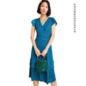 NWT Anthropologie Blue Sereia Pleated Midi Dress